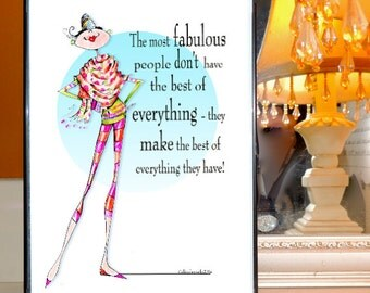 framed uplifting woman humor art with uplifting quote print