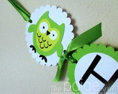 Owl Name Banner in Bright Green with Black & White - bright green owl collection