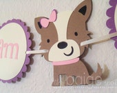 Dog Highchair Banner in Purple with Pink & Cream - girly terrier dog collection