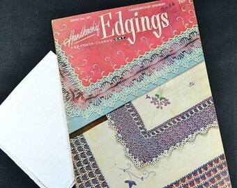 HANKIE EDGING PATTERNS, with White Irish Linen Hankie, Coats & Clark 1951 No. 282, Crochet, Handerkerchiefs,18 Edgings Excellent Condition