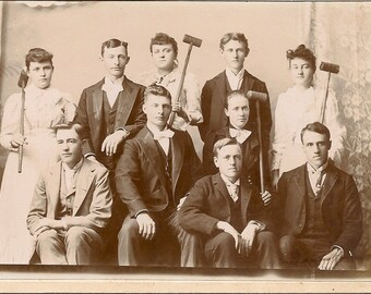Victorian Cabinet Photo Women & Men with Croquet Mallets - Indianola , Indiana - Antique Photo