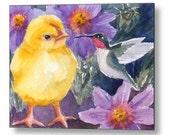 Baby Chick Hummingbird Art Print on Wood Chicken Decor by Janet Zeh