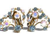 Vintage Rhinestone Clip On Earrings with Blue & White Aurora Borealis Rhinestones Signed Austria on Brass - Vintage Costume Jewelry