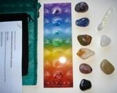 Well-being Chakra Kit/book, Crystal stone set, 9 stones, Well-being Intention guide, Chakra stones, energy healing, Chakra bookmark
