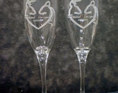 Buck and Doe Toasting Wedding Glass Flutes (Set of 2) - Engraved & personalized