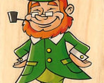Leprechaun Stamp --   NEW  -- Wood Mounted Rubber Stamp --  Inkadinkado Brand --   (#342)