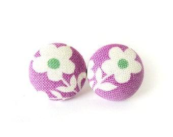 Small purple button earrings - fabric post earrings - studs earrings white flower green