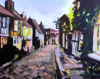 Rye (East Sussex, UK) Mermaid Street - Original Acrylic on Canvas Painting