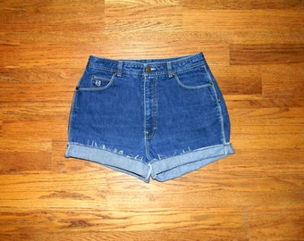 High Waisted Denim Shorts, Vintage 80s Dark Washed Jean Shorts w White Contrast Stitching, Frayed, Rolled Up Bon Jour Cut Offs Size 10 M