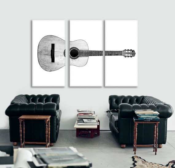 Black and white acoustic guitar full view on 3 canvas split for Acoustic guitar decoration ideas
