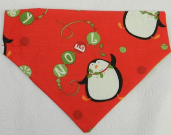 Rocking Penguins! Christmas Holiday Ornament Holiday NOEL Themed Bandana. Great 4 Dogs, Cats or Ferrets. Reversible 2 in 1 Over the Collar.