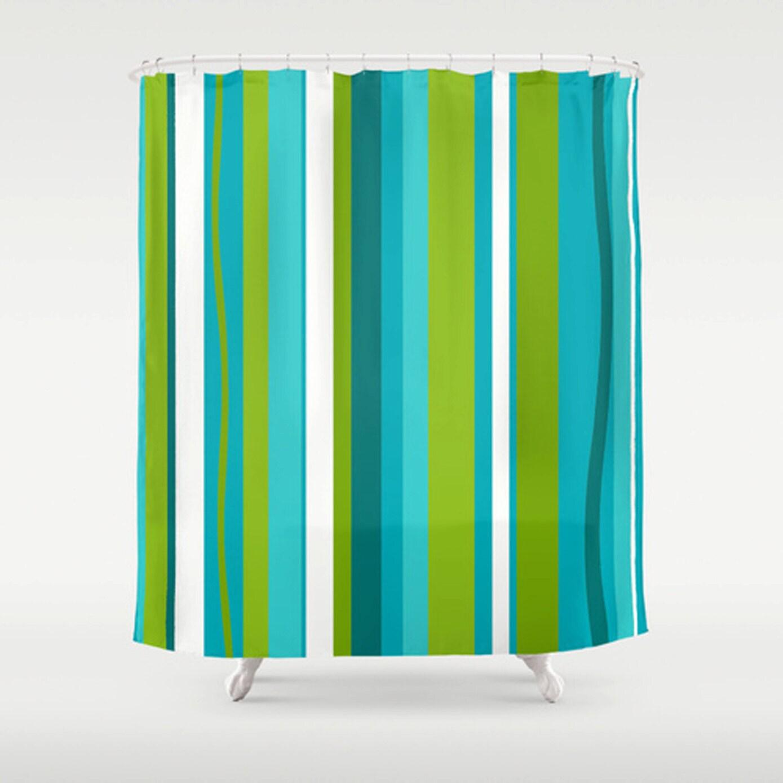 Striped Shower Curtain Mid Century Modern Shower