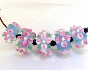 Hole 2mm 6Beads Pink Flower Lampwork bead Candy 4 petals Flowers Handmade jewelry designs European Style