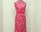Vintage 60s I Appel Shift Dress / Red Poppy Print / Sleeveless Shirtdress / S