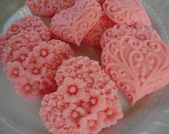 40 heart soap favors - quinceanera favors - birthday favors - pink heart favors - wedding favors - bridal shower favors - baby shower favors