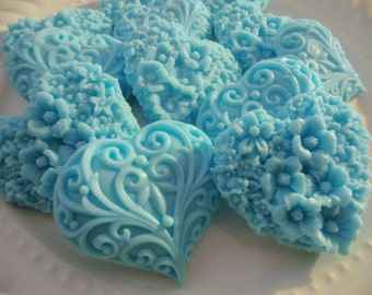 20 heart soap favors - heart baby shower favors - heart wedding favors - bridal shower favors - first birthday favors - blue baptism favors