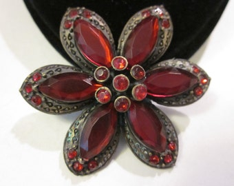Antique Flower Pin with Deep Red Marquise Cut Plastic Gemstones & Rhinestones