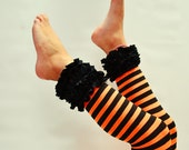 Black and Orange stripe ruffled footless tights