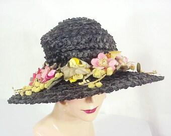 Edwardian Raffia Floral Brim Hat, Silk & Velvet Flowers