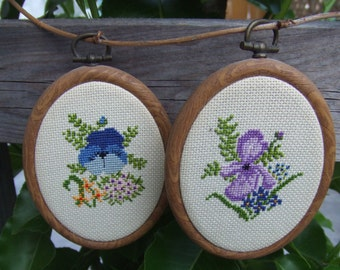 "Vintage Pair of Petit Point Flowers.Iris and Pansy. Hand Embroidered. Wall Plaques. 4"" Tall."