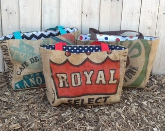 9 Eco-Friendly Semi Custom Tote Bags - Handmade from Recycled Coffee Sacks