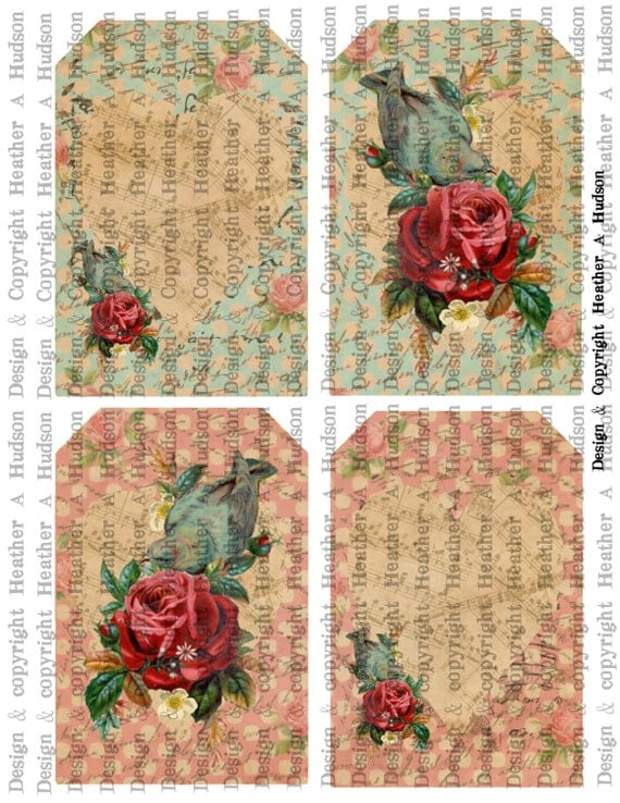Romantic Roses Birds Victorian Vintage Valentine's Day Valentine tags Digital Collage sheet Printable