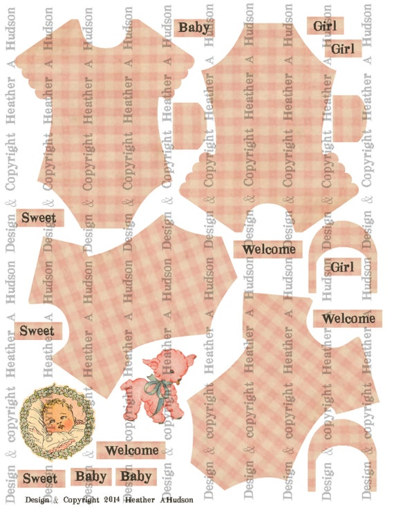 Vintage Baby Girl Pink Onesie Set Digital Collage sheet Printable