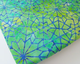 Holiday Green Stained Glass Mosaic Fabric, Blue Green Star Print Batik Fabric