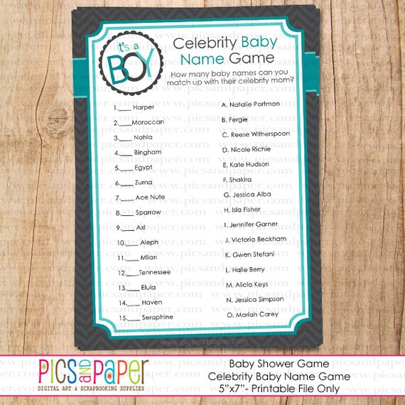 baby shower game celebrity baby name teal and grey baby boy shower