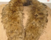 Large Mongolian Lamb Raccoon Look Lined Fur Collar for Garment Attachment or Wear As Is