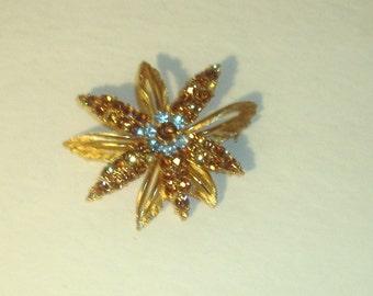 Vintage LISNER Floral Rhinestone Pin Brooch 4 Repurpose or Repair- Missing Stones