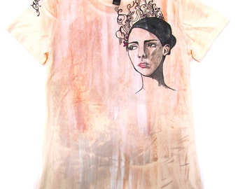 Hand Painted Woman with pattern illustrative T-Shirt Medium
