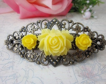Yellow Roses on Antique Bronze Victorian Filigree Hair Barette. Gift for her. Birthday, Christmas, Bridesmaids Gift.