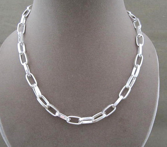 Silver Metal Linked Chain Necklace