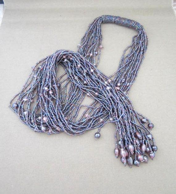 Long Purple Beaded Fringed Necklace, long beaded scarf , long beaded belt