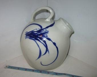 Vintage Salt Glaze Crock Ball Jug Blue & White Floral Butterfly Asian Oriental