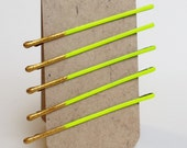 Neon Yellow and Gold Bobby Pins