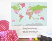 World Map Canvas, My Country, 32X48, Travel Artwork, Travel gift, Farewell, Gift for home, Maps for kids, Educational map, America