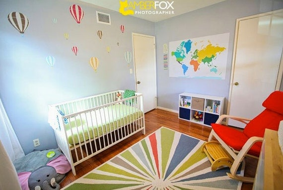 World Map Decal with hearts, dots and continent names stickers, Heritage World, 35 X52 Inches, Nursery Decor, Baby Room, Play room ideas