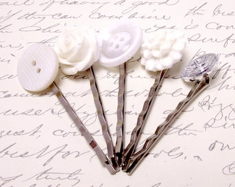 White Rose Flower Hair Accessories. White Mum and Rose Flower Hair Pins. White Vintage Button Hair Clips. Wedding Accessories.