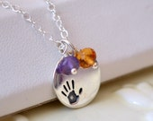 Mother's Day Necklace, Birthstone Jewelry, Sterling Silver, Handprint Charm, Genuine Gemstones, Custom Made for Mom