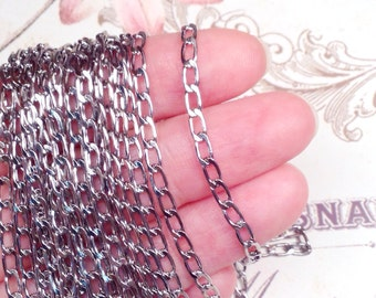 Twist Chain, Stainless Steel,316L, 3x6x1mm, Hypoallergenic, Non Tarnish, Lot Size 5 to 30 feet, #1917
