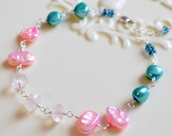 Teal and Pink Bracelet, Keishi Freshwater Pearl, Rose Quartz, London Blue Topaz Gemstone, Gold or Sterling Silver Jewelry, Free Shipping