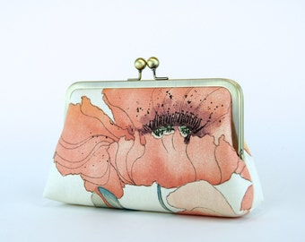 Bridesmaid Clutch, Romantic Poppy in Coral, Bridesmaid Clutch (choose your style and color) With Silk Lining, Wedding clutch