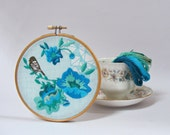 Embroidery kit. Vintage flowers, bird and geometric design. Modern embroidery kit. DIY Wall Art.Embroidered Hoop Art.Gift for her.Home decor