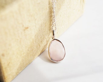 Rose Quartz, Sterling Silver Necklace