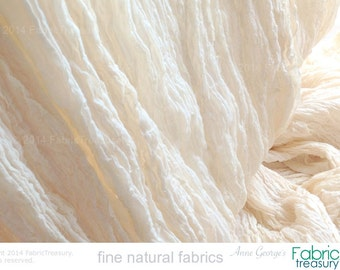 "Wholesale Fabric. Soft Cotton Crepe Fabric. Dyeable ORGANIC COTTON. Cotton Crepe 40s. 24"" crinkled width / 48"" stretched width. 10 Yards."