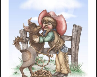 Little Cowboy's Kisses, limited edition art print. Artist Cheri Turk