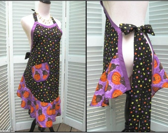 Full Flounce Halloween Apron-Black Cats and Pumpkins-One Size fits most Chrhistmas in July Sale