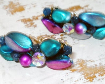 Vintage Funky Blue and Purple Clip On Earrings